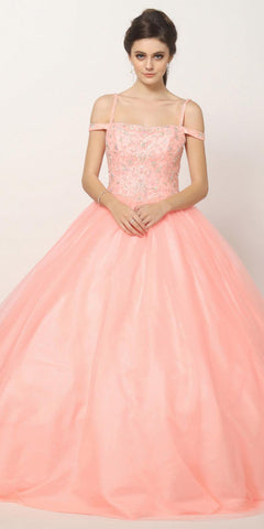 Beaded Embroidery Cold Shoulder Princess Ballgown Blush