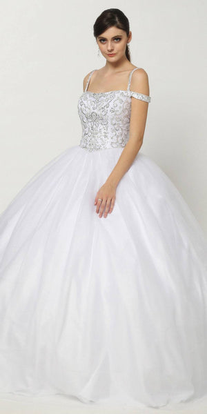 Beaded Embroidery Cold Shoulder Princess Ballgown White