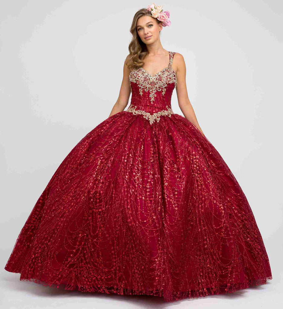 Juliet 1428 Princess A-Line Ball Gown Burgundy Poofy Open Back