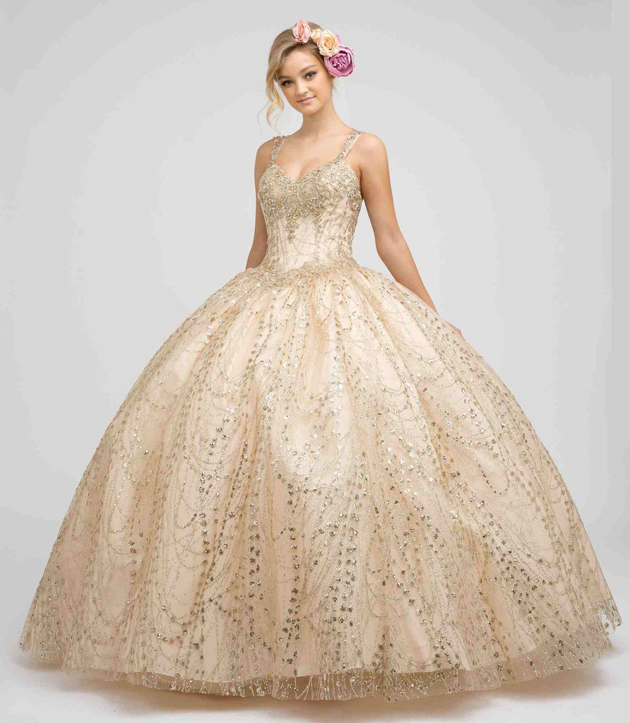 Juliet 1428 Princess A-Line Ball Gown Champagne Poofy Open Back