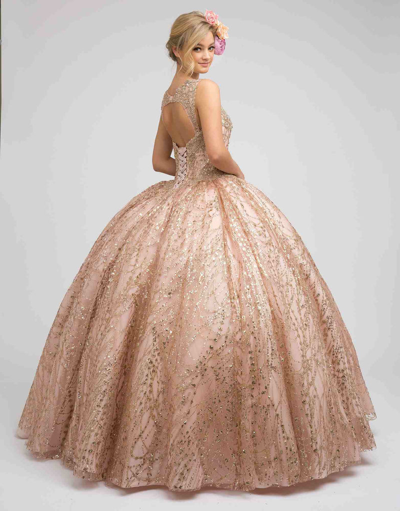 Juliet 1428 Princess A-Line Ball Gown Rose Gold Poofy Open Back