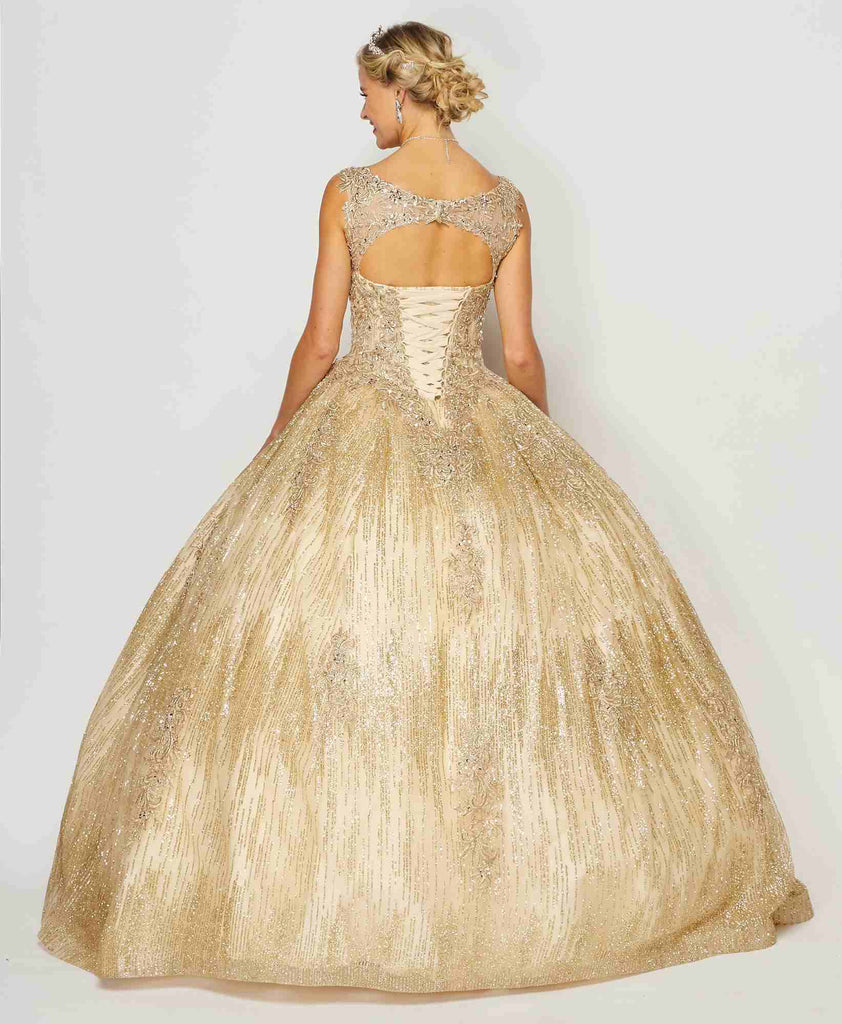 Juliet 1429 Poofy Princess Ball Gown Champagne A-Line Glitter