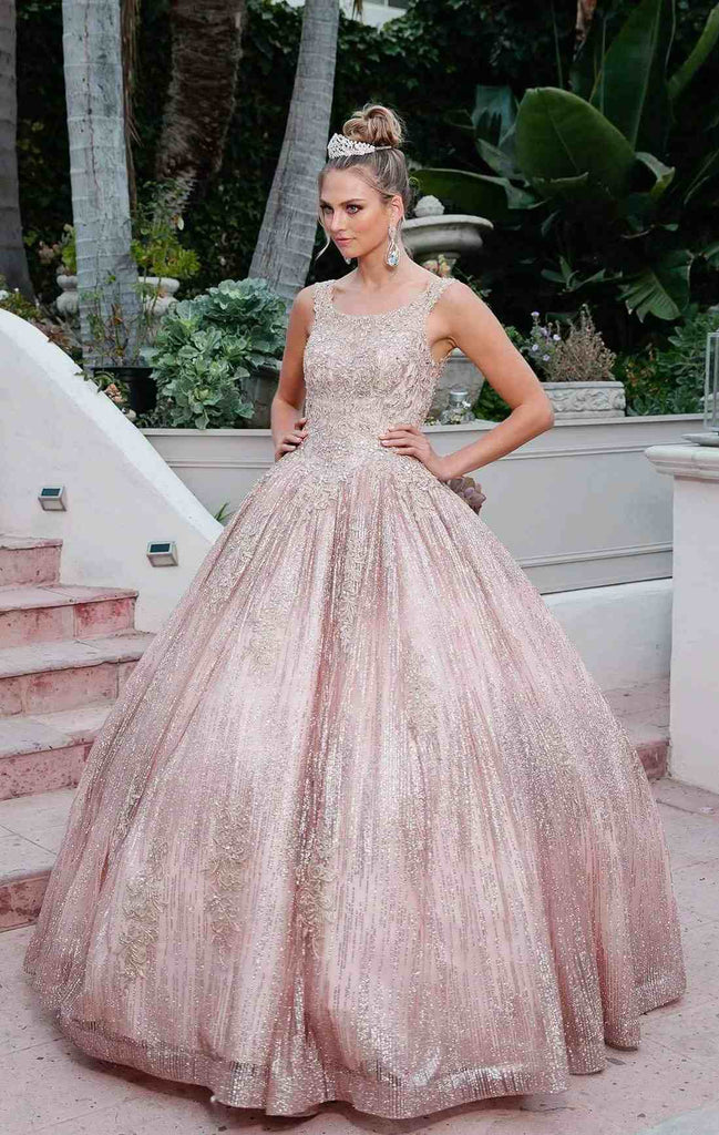 Juliet 1429 Rose Gold Glitter Poofy Cinderella Ball Gown A-Line