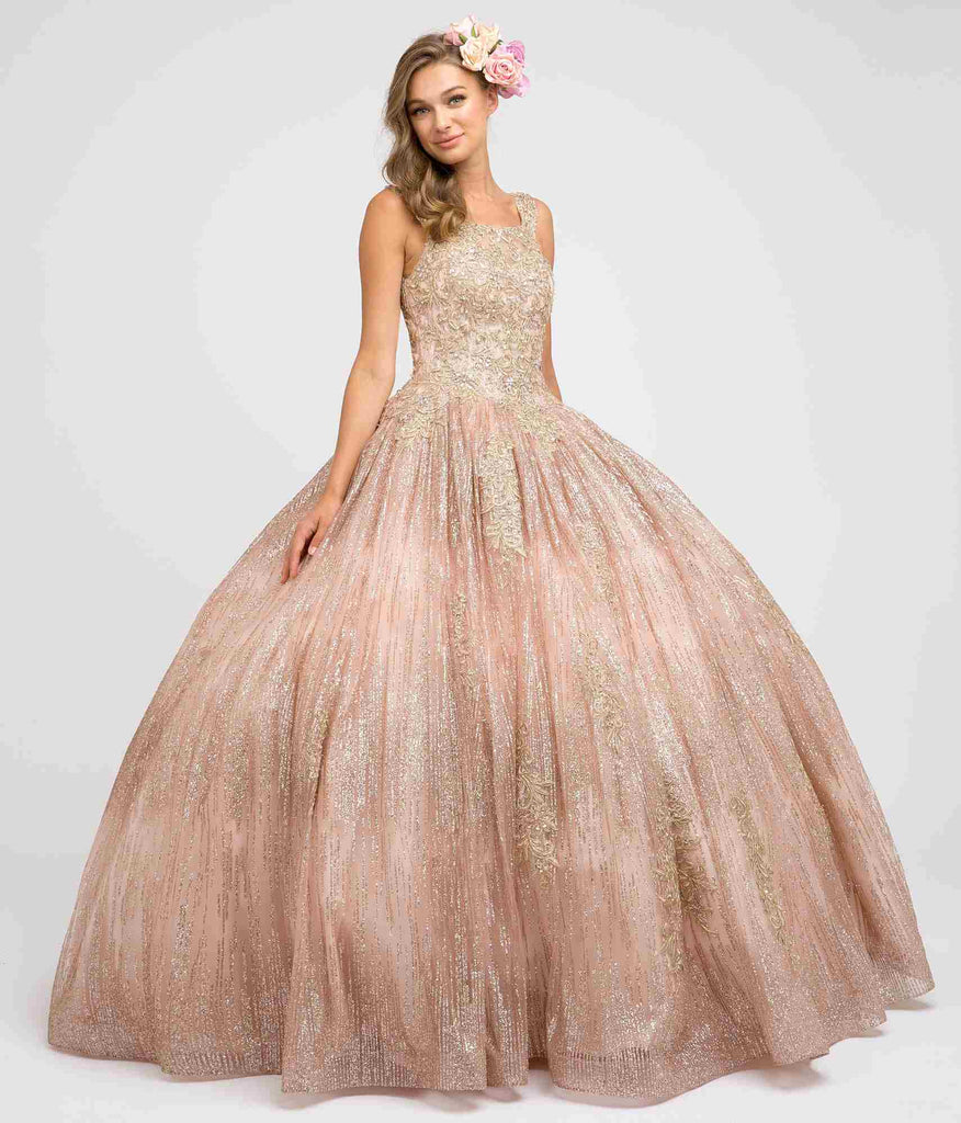 Juliet 1429 Poofy Princess Ball Gown Rose Gold A-Line Glitter
