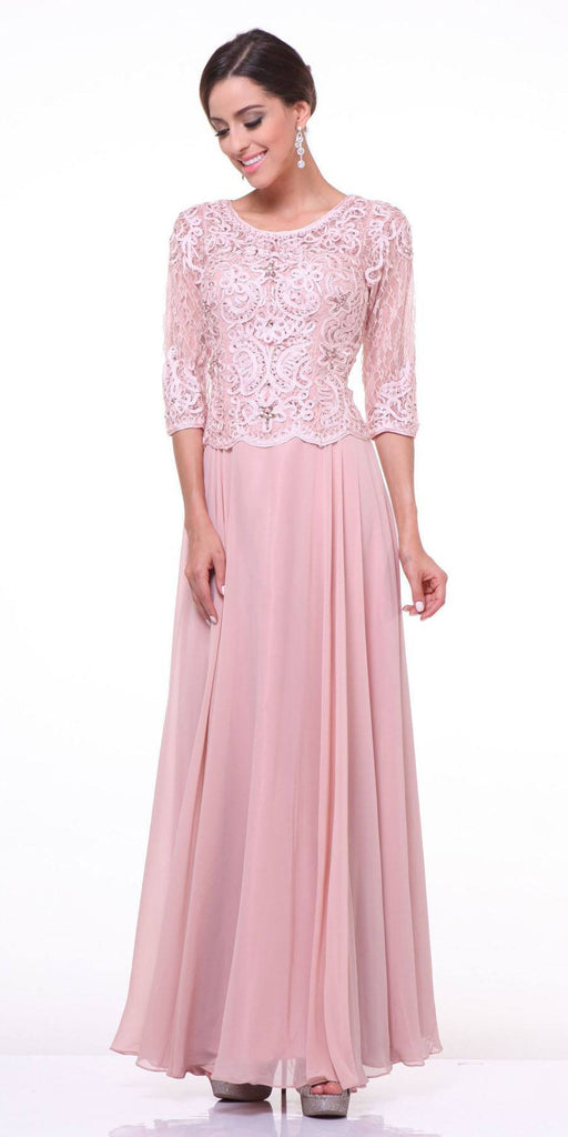 Mid Length Lace Sleeve Mother of Groom Dress Blush Long