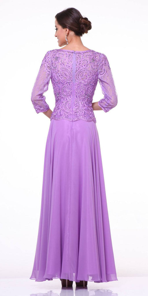 Mid Length Lace Sleeve Mother of Groom Dress Lilac Long Back View