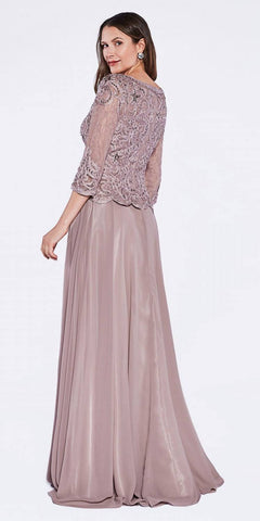Cinderella Divine 14327 Mid Length Lace Sleeve Mother of Groom Dress Mocha Long