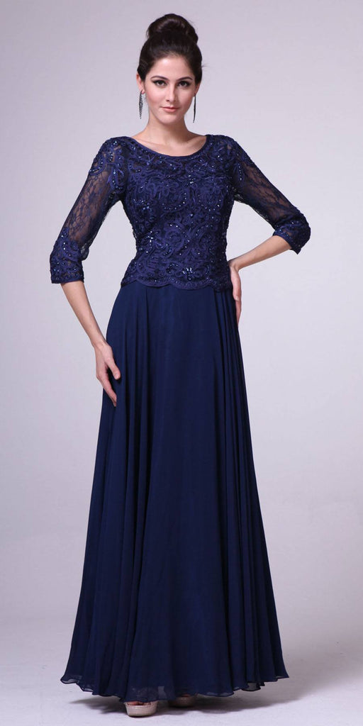 Mid Length Lace Sleeve Mother of Groom Dress Navy Long