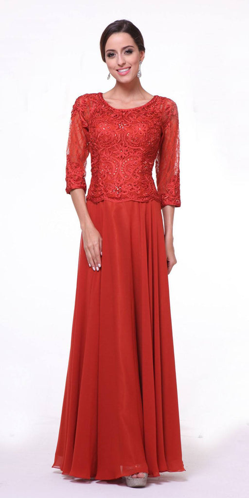 Mid Length Lace Sleeve Mother of Groom Dress Red Long