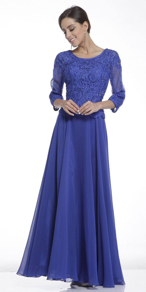 Mid Length Lace Sleeve Mother of Groom Dress Royal Long