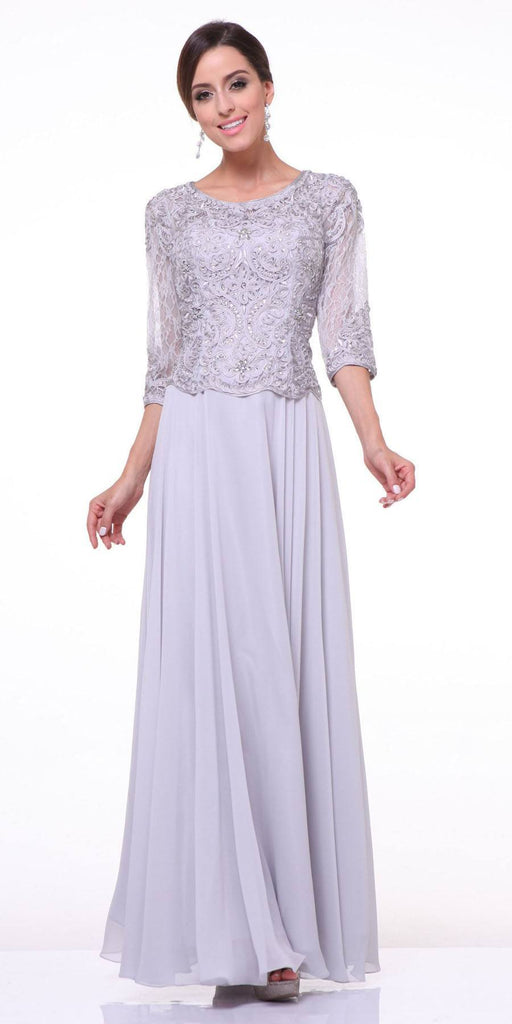 Mid Length Lace Sleeve Mother of Groom Dress Silver Long
