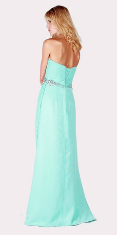 Strapless Long Formal Dress Embellished Waist Aqua