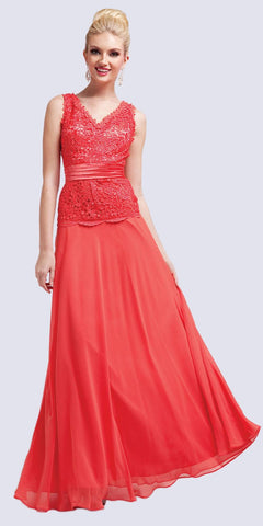 V-Neckline Long Coral Chiffon Lace Column Dress
