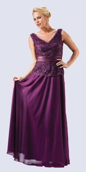 Modest V Neck Eggplant Mother of Groom Dress Long Lace