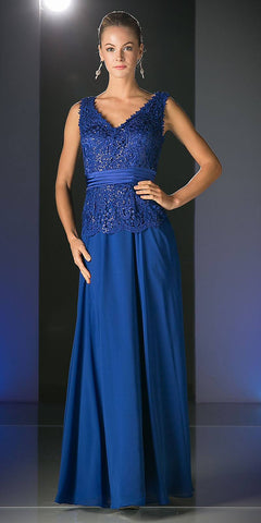 Long Fitted Geometric Sequin Gown Navy Blue Bateau Neckline Open Back