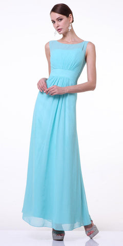 Mint Thick Strap Chiffon Dress Long Empire Bateau Neckline