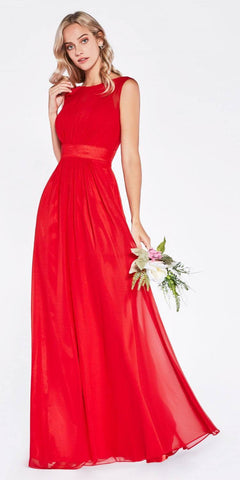 Red Thick Strap Chiffon Dress Long Empire Bateau Neckline