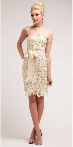 Knee Length Lace Gold Bridesmaid Dress Sweetheart Bow