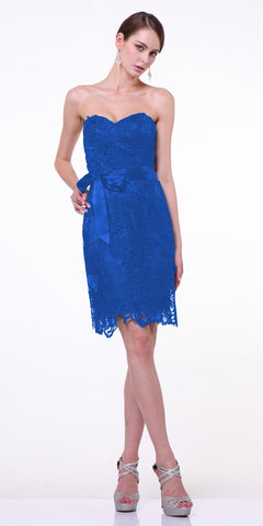 Knee Length Lace Royal Blue Bridesmaid Dress Sweetheart Bow