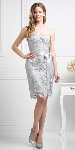Knee Length Lace Silver Bridesmaid Dress Sweetheart Bow