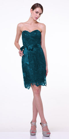 Knee Length Lace Teal Bridesmaid Dress Sweetheart Bow