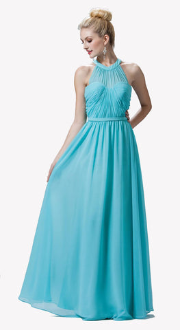 High Neck Illusion Mint Long Chiffon A Line Dress