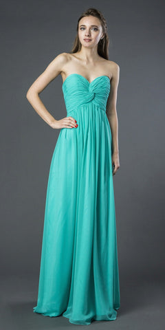 Starbox USA L6074-1 Long Strapless Chiffon Bridesmaid Dress Tiffany Blue
