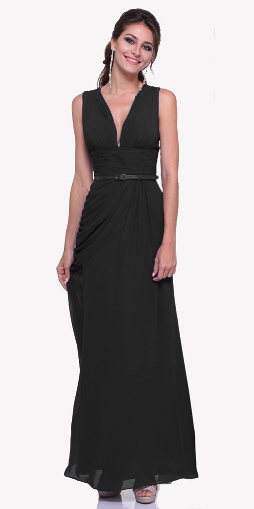 Long V Neck Black Semi Formal Chiffon Dress Wide Straps