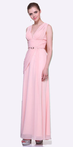 Long V Neck Blush Semi Formal Chiffon Dress Wide Straps