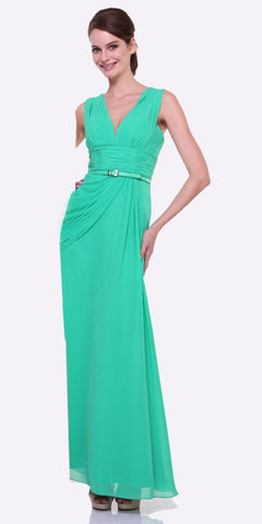 Long V Neck Green Semi Formal Chiffon Dress Wide Straps