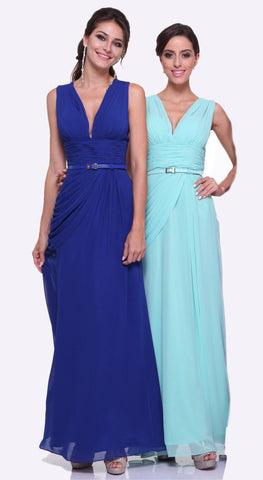 Aqua V-Neck Sheer Appliqued Bodice Long Prom Dress with Slit