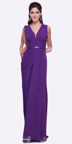 Long V Neck Purple Semi Formal Chiffon Dress Wide Straps