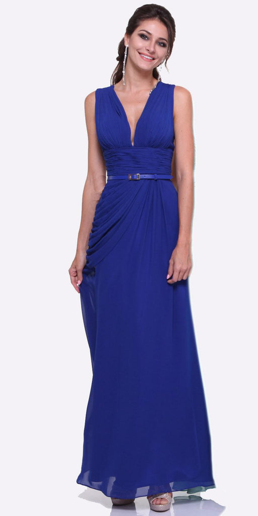 Long V Neck Royal Blue Semi Formal Chiffon Dress Wide Straps