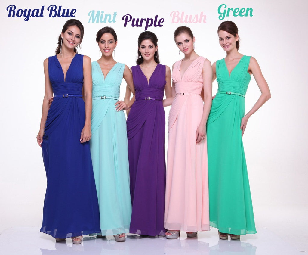Long V Neck Gallery Semi Formal Chiffon Dress Wide Straps