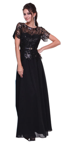 Long A Line Lace Bodice Black Semi Formal Gown Short Sleeve