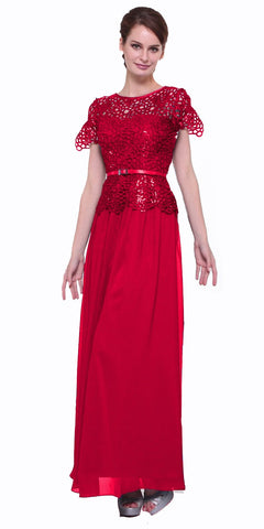Long A Line Lace Bodice Red Semi Formal Gown Short Sleeve
