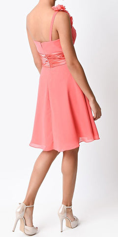 Cinderella Divine 1490 Knee Length One Shoulder Coral Chiffon Bridesmaid Dress A Line Back