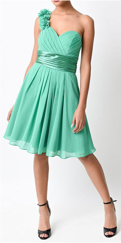Knee Length One Shoulder Green Chiffon Bridesmaid Dress A Line