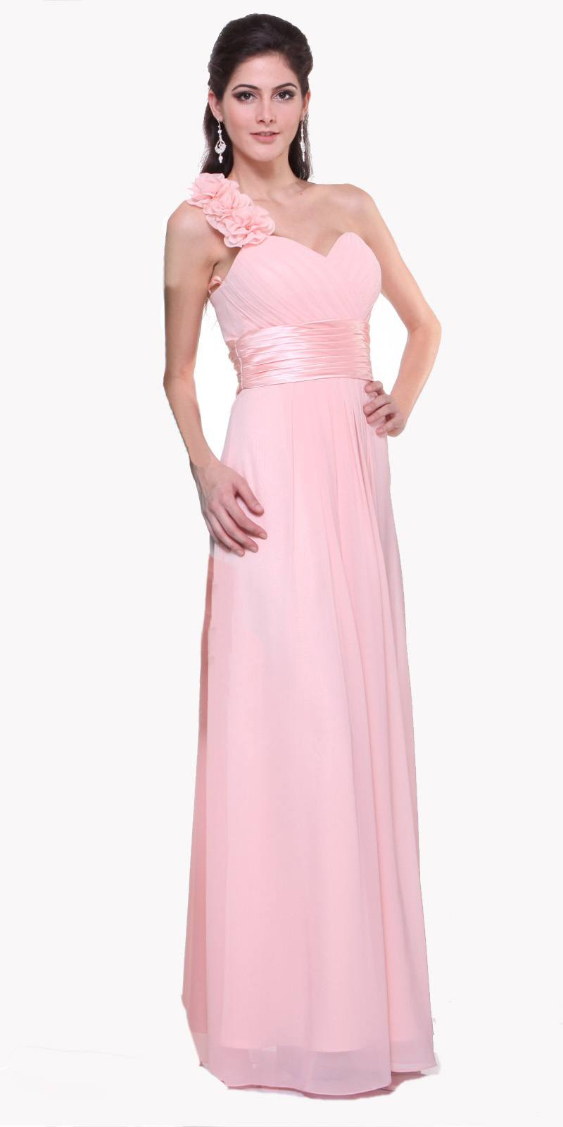 Full length one shoulder coral chiffon bridesmaid dress a line full length one shoulder blush chiffon bridesmaid dress a line ombrellifo Image collections