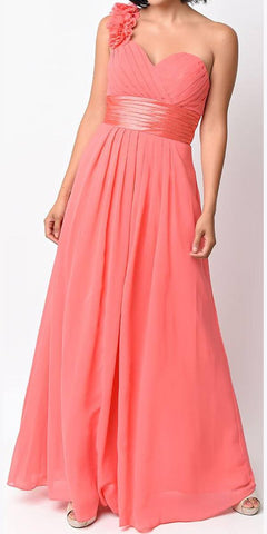 Full Length One Shoulder Coral Chiffon Bridesmaid Dress A Line