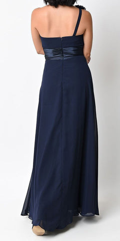 Cinderella Divine 1491 Full Length One Shoulder Navy Blue Chiffon Bridesmaid Dress A Line Back
