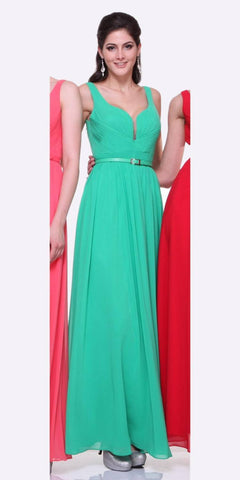 Cinderella Divine 1492 - Wide Strap Green Semi Formal Gown A Line Chiffon Bridesmaid