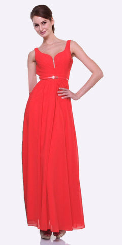 Cinderella Divine 1492 - Wide Strap Watermelon Semi Formal Gown A Line Chiffon Bridesmaid