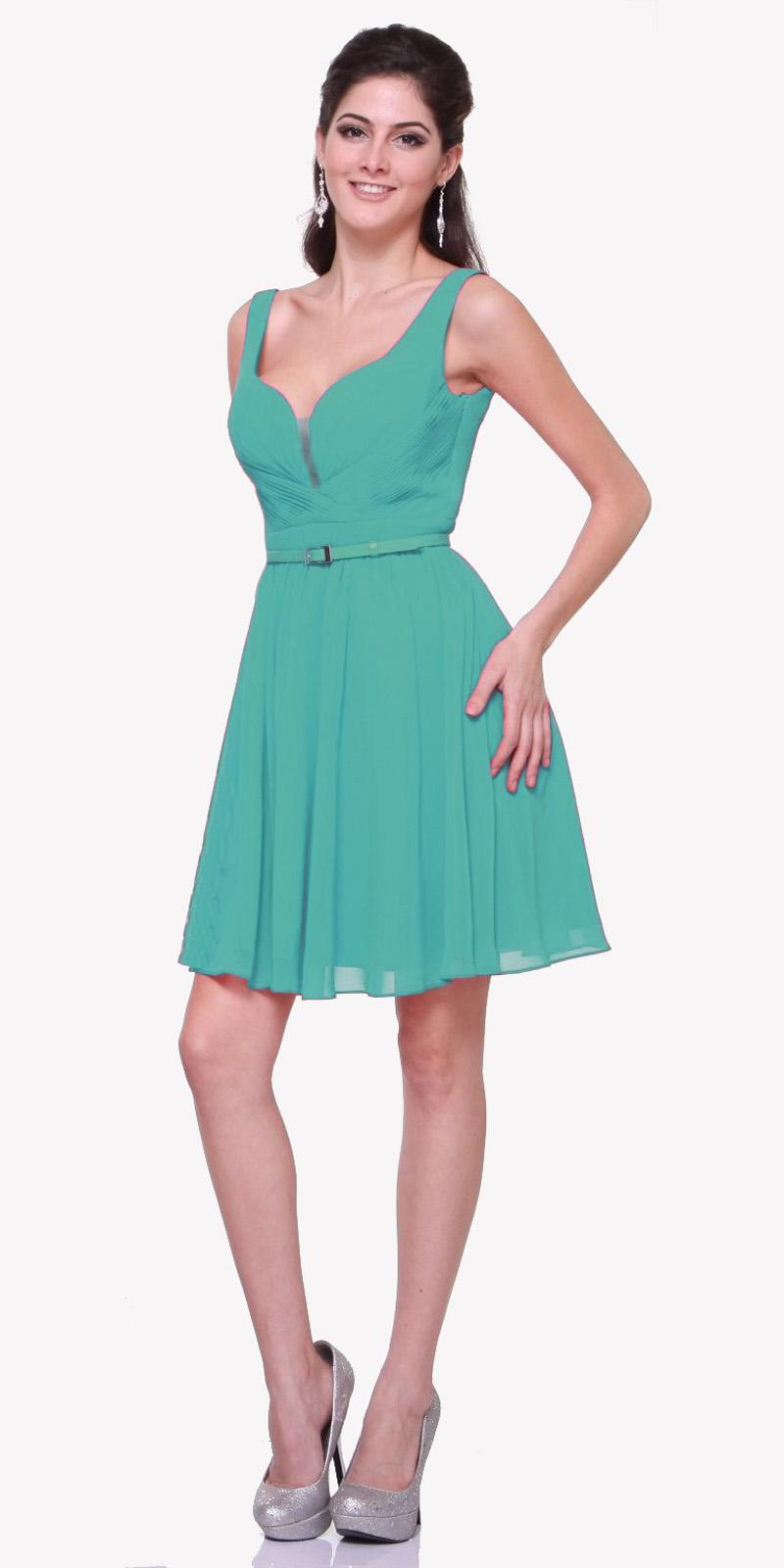 401eb4a55b750 ... Cinderella Divine 1493 - Short Wide Strap Green Semi Formal Gown A Line  Chiffon Bridesmaid ...