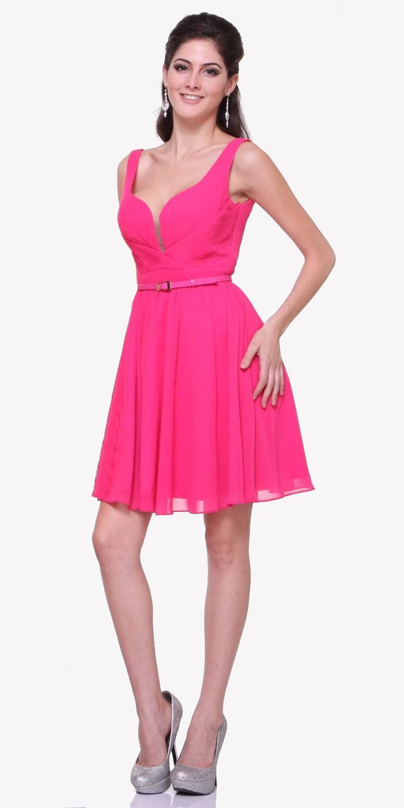 030ac705ae3d0 Cinderella Divine 1493 - Short Wide Strap Hot Pink Semi Formal Gown A Line  Chiffon Bridesmaid ...