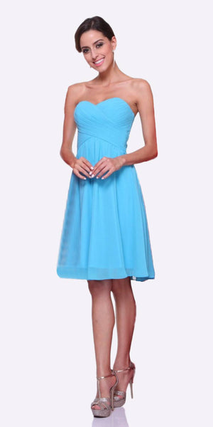 Short Bridesmaid Aqua Dress Knee Length Pleated Bodice