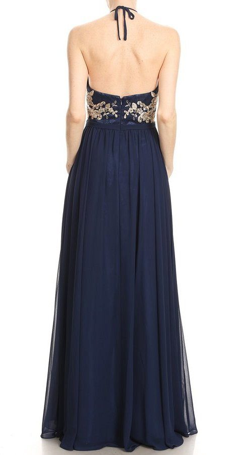 Navy Blue Appliqued Long Prom Dress High Neckline