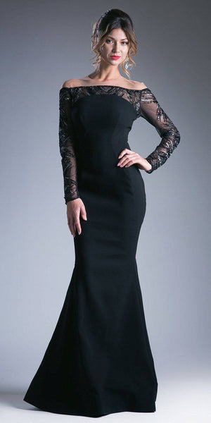 Black Illusion Off-Shoulder Evening Gown Long Sleeves