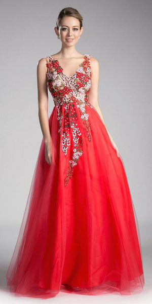Illusion Embroidered Prom Gown V-Neck Fuchsia