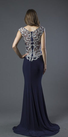 Embellished Illusion Back Mermaid Prom Gown Navy Blue